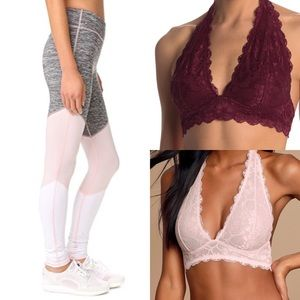 Bundle Free People leggings and 2 lace bralettes
